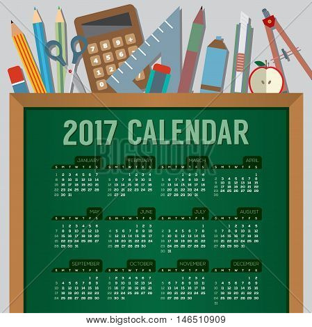 Flat Design Top View Education Concept 2017 Printable Calendar Starts Sunday Vector Illustration. EPS 10