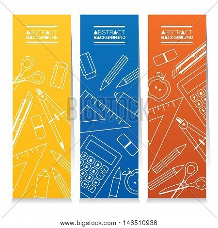 Set Of Three Colorful Vertical Banners Education Concept Vector Illustration. EPS 10