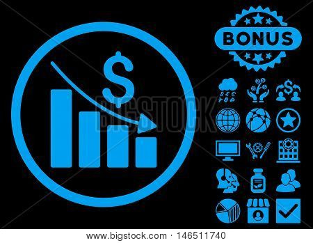 Recession Chart icon with bonus. Vector illustration style is flat iconic symbols, blue color, black background.