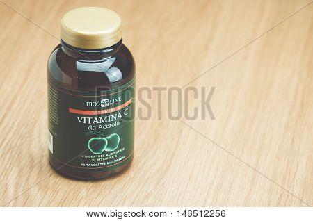 Inverigo Italy - September 10 2016: BIOS LINE C vitamin tablets nutritional supplement in a glass bottle