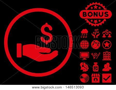 Earnings Hand icon with bonus. Vector illustration style is flat iconic symbols, red color, black background.