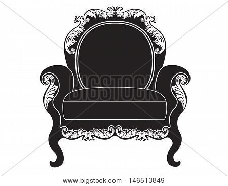 Vintage upholstered armchair.  Luxury rich carved ornaments furniture. Vector Victorian exquisite Style ornamented chair poster