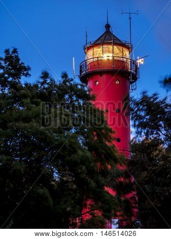 Historical Lighthouse in Rozewie at night, located at the Baltic Sea coast Poland, between Jastrzebia Gora and Wladyslawowo, Pomerania region