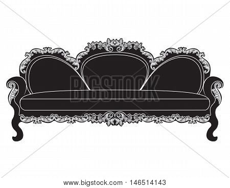 Vintage upholstered sofa.  Luxury rich carved ornaments furniture. Vector Victorian exquisite Style ornamented chair