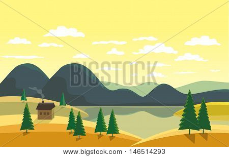 Autumn landscape. Mountain river in yellow valley. House on river bank. Lake view among hills and green pine trees. Sunny daylight scene background. Cartoon Vector Illustration
