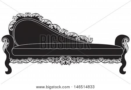 Vintage upholstered entrance bench.  Luxury rich carved ornaments furniture. Vector Victorian exquisite Style ornamented chair