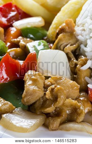 Chicken chow mein a popular oriental dish available at chinese take outs. Chinese food.