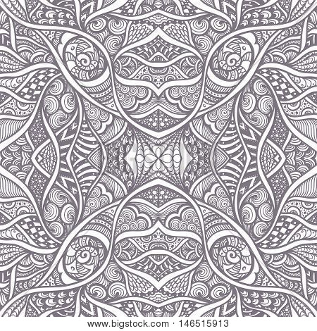Abstract Background with seamless  Zen-doodle or  Zen-tangle  pattern black on white for coloring page or relax coloring book for adult  or wallpaper or for decorate package clothes