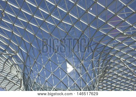 MILAN, ITALY - APRIL 15 2015: Architectural close up of the glass roofing of Milano Fiera