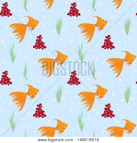 Cute funny decorative seamless background pattern with repeating elements such as goldfish alga coral and bubbles in blue water. Vector illustration eps 10