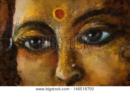 closeup detail of hindu woman eyes with sacred symbol, illustration.
