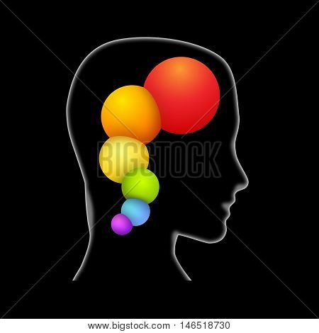 Concept intelligent person. Head and balls. Illustration