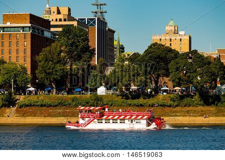 Harrisburg PA - September 3 2016: The Pride of the Susquehanna riverboat cruises the shoreline of the capital city during Kipona.