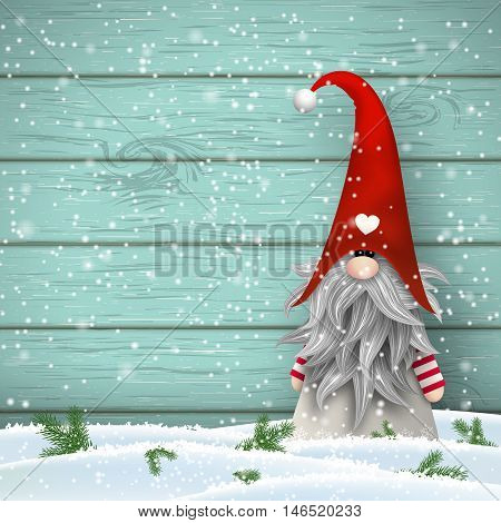 Nisser in Norway and Denmark, Tomtar in Sweden or Tonttu in Finnish, Scandinavian folklore elves, nordic christmas motive, Tomte standing in front of blue wooden wall in snow, vector illustration, eps 10 with transparency