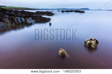 Long exposure landscape of a Cornwall beach