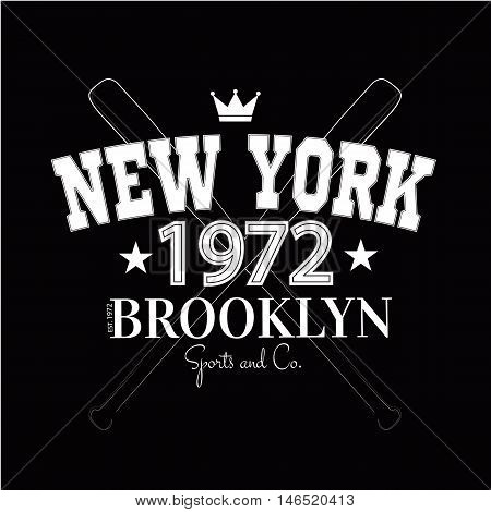 Varsity New york Brooklyn college university division team sport baseball label typography, t-shirt graphics for apparel.