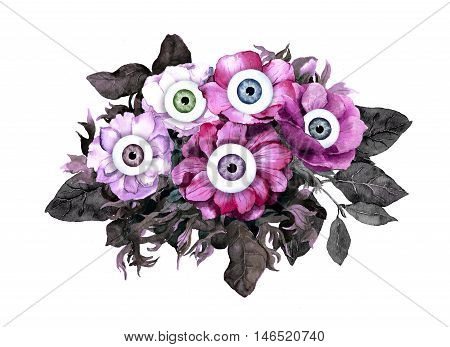 Unusual halloween concept - pink and black flowers with eyes. Watercolor