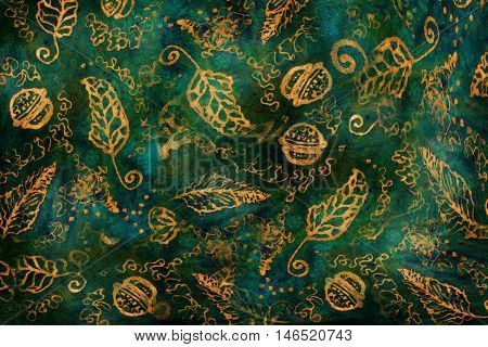 decorative background pattern with golden ornamental feathers and jingle bells