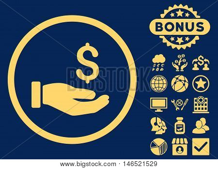 Earnings Hand icon with bonus. Vector illustration style is flat iconic symbols, yellow color, blue background.