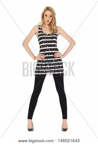 Young Sexy Blond Woman In Striped Tunic Isolated On White