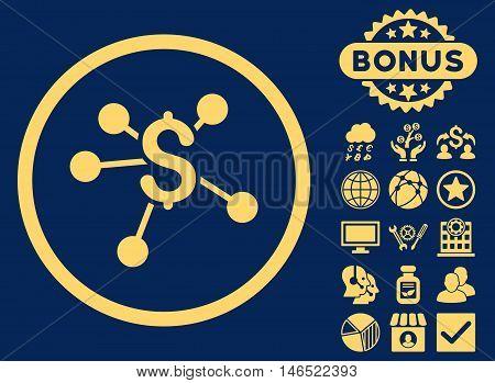 Money Emission icon with bonus. Vector illustration style is flat iconic symbols, yellow color, blue background.