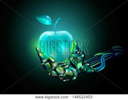 glass apple in a hand of a cyborg. vector illustration