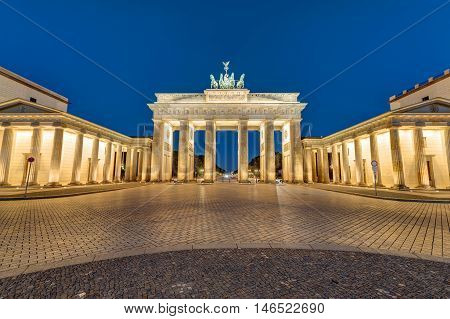 The famous Brandenburger Tor in Berlin, Germany, at night