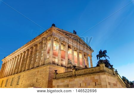 The Alte Nationalgalerie in Berlin at night