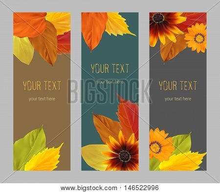 Set of vertical banners with yellow, orange, red autumn leaves, fall colors on a dark background, template, vector illustration