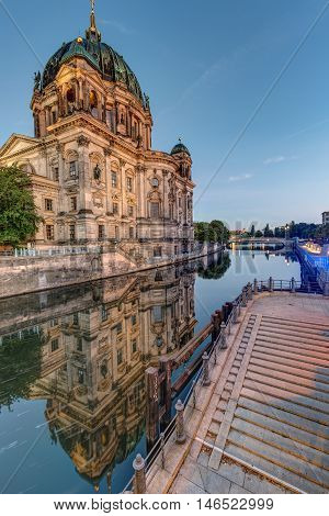 The Dom of Berlin and the river Spree
