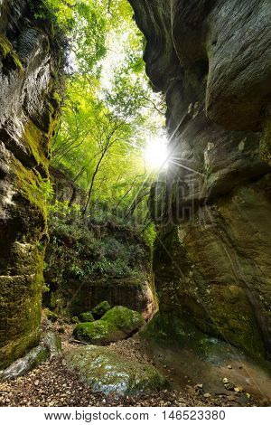 The canyon of the Torrente del tasso (creek of the rate) in Val del Tasso (Rate Valley) Pazzon Caprino Veronese Verona Italy