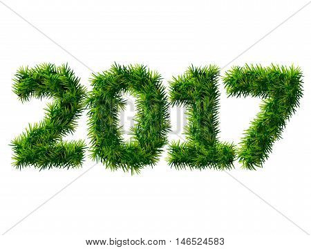 New Year 2017 of christmas tree branches isolated on white. Empty pine twigs in shape of number 2017. Vector design element for new years day christmas winter holiday new years eve silvester etc