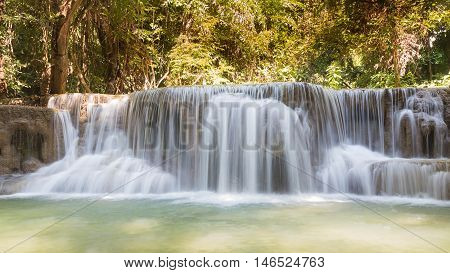 Natural waterfalls in deep forest, natural landscape background