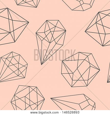Seamless abstract crystal background. Geometric shapes. Vector illustration.