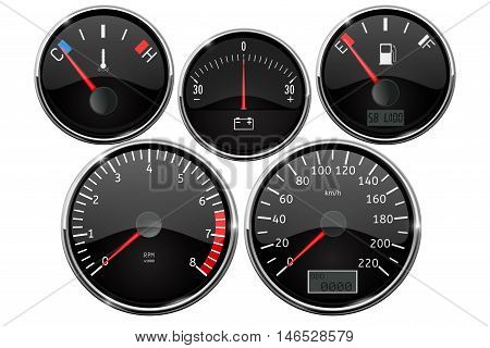 Set of dashboard measuring devices - fuel gauge tachometer speedometer odometer. Vector illustration isolated on white background