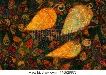 colorful ornamental background pattern with autumn leaves collage.