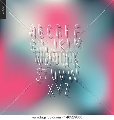 Vector handwritten uppercase latin alphabet on the pink and blue cold blurred background