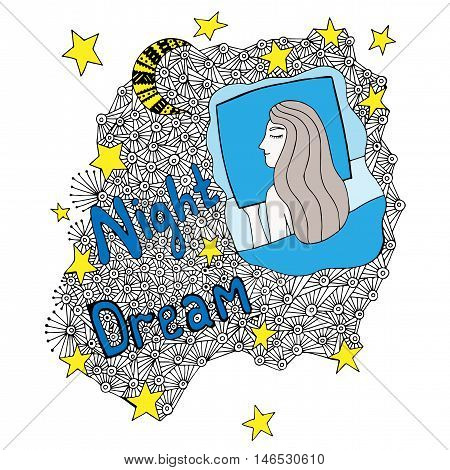 Colorful Night dream lettering with sleeping girl with abstract element and moon with star. Mono color black line art element for adult coloring book page design.