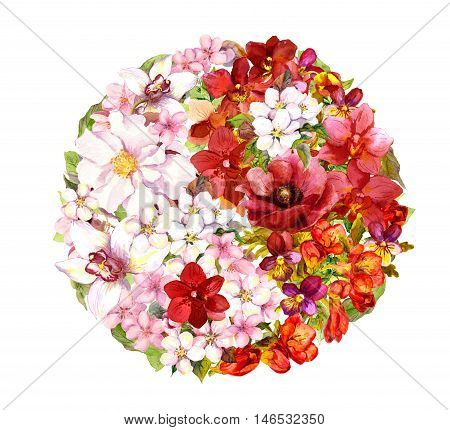 Yin yang sign with flowers. Floral form yinyang. Red and white watercolor