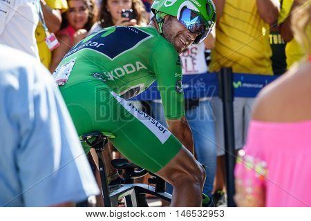 JAVEA - SEPTEMBER 9: Alejandro Valverde prepares for the decisive time trial stage of La Vuelta on September 9, 2016 in Alicante, Spain