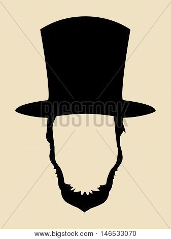 Symbol of a man with beards wearing 19th century hat