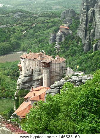 The Amazing View of Meteora Monastery on the Hilltop, Greece