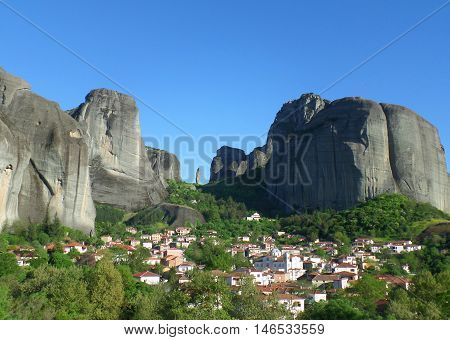 The Incredible View of Meteora seen from the Town of Kastraki, Greece