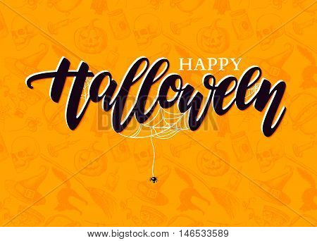 Happy Halloween vector lettering with detailed engraving background. Pumpkin witch hat skull cat elements. Holiday calligraphy for banner poster greeting card party invitation.