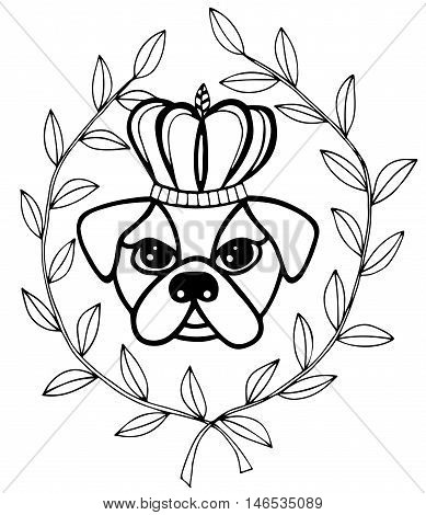 Black line head dog with crone and leaves. For tattoo card invitation posters texture backgrounds placards banners.