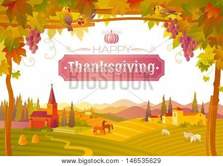 Vector illustration of beautiful autumn landscape on white background in modern style with elegant text lettering Happy Thanksgiving, copy space. Countryside fall farm symbols. Church, vineyard