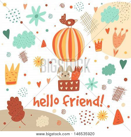 Cute hand drawn postcard with rabbit hot air balloon bird clouds flowers crown leaf heart polka dots abstract elements.Hello friend background for children. Baby shower cover in cartoon style