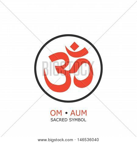 om symbol aum sign. isolated on white background. vector illustration