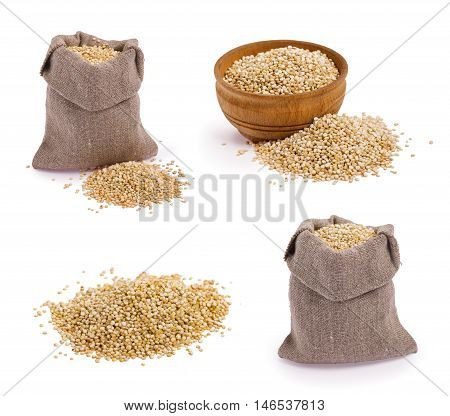 Set of quinoa grains isolated on white background