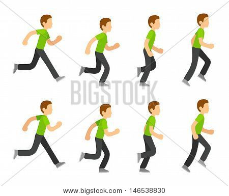 Running man animation 8 frame sequence. Flat cartoon style vector illustration.